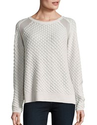 French Connection Ella Mesh Knit Sweater White