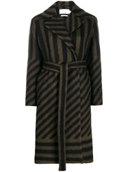 Closed Stripe Belted Coat Green