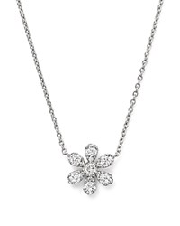Bloomingdale's Diamond Flower Pendant Necklace In 14K White Gold 16