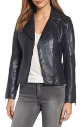 Lamarque Women's Asymmetrical Zip Leather Biker Jacket Navy