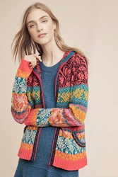 Anthropologie Aviemore Hooded Sweater Jacket Red Motif
