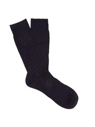 Pantherella Gadsbury Pin Dot Socks Navy