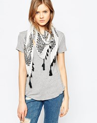 Liquorish Scarf With Metallic Foil Print And Tassels White