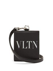 Valentino Vltn Logo Print Leather Neck Wallet Black