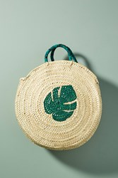 Anthropologie Palm Leaf Circle Tote Bag Green