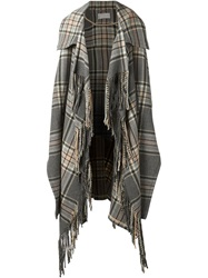 Chloe Chloe Fringed Long Cape Grey