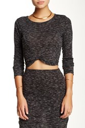 Blvd Rib Knit Crop Tee Black