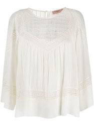 Twin Set Lace Embroidered Cotton Blouse White