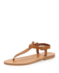 K. Jacques Leather T Strap Flat Sandal