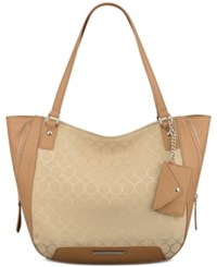 Nine West 9'S Jacquard Carryall Hobo Sandstone Dark Camel