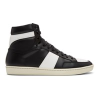 Saint Laurent Black And White Court Classic Sl 10 High Top Sneakers