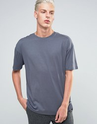 Adpt T Shirt With Crew Neck In Boxy Fit Ombre Blue Navy