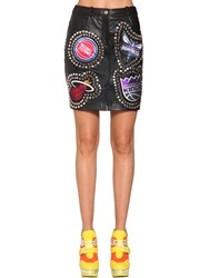 Jeremy Scott Studs And Patches Leather Mini Skirt Black