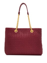 Bottega Veneta Small Intrecciato Tote Red