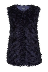 Topshop Tufty Gilet Navy Blue