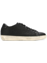 Leather Crown Perforated Lace Up Sneakers Black