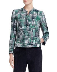 Lafayette 148 New York Marcy Zip Front Printed Jacket Green