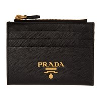 Prada Black Zipped Logo Card Holder