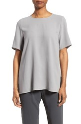 Eileen Fisher Women's Silk Crepe Round Neck Boxy Top Pewter
