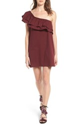 Sincerely Jules Women's Everly One Shoulder Cotton Dress Burgundy