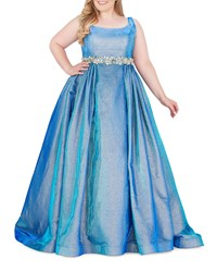Mac Duggal Scoop Neck Sleeveless Shimmering Metallic Brocade Ball Gown Plus Size Blue