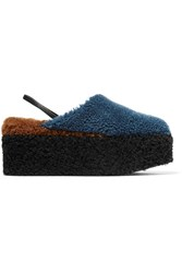 Fendi Shearling Platform Slippers Blue