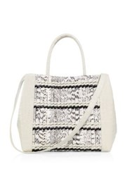 Nancy Gonzalez Woven Stripe Crocodile Leather Tote Cream