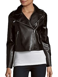 Saks Fifth Avenue Red Faux Leather Moto Jacket Black