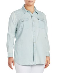 Lucky Brand Plus South Western Inspired Button Front Top Blue