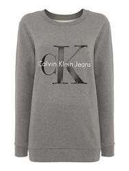 Calvin Klein Long Sleeve Reissue Crew Neck Logo Sweat Top Light Grey