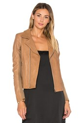 June Fitted Leather Moto Brown