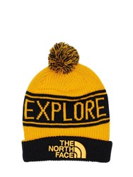 The North Face Retro Tnf Pom Acrylic Blend Beanie Yellow