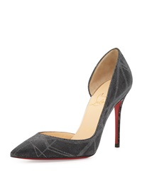 Christian Louboutin Iriza Half D'orsay Red Sole Pump Back Silver Black Silver
