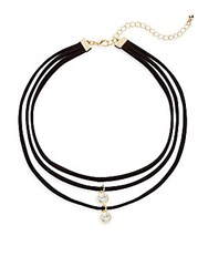 Cara Faux Suede Triple Layered Crystal Choker Necklace Black