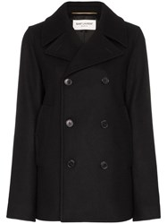 Saint Laurent Double Breasted Pea Coat Black