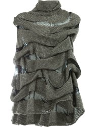 Masnada Layered Knitted Cape Green