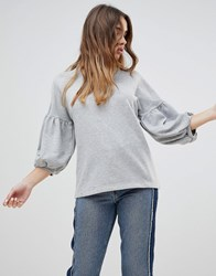 Monki Padded Sleeve Sweatshirt Dusty Grey