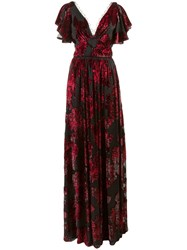 Marchesa Notte Floral Print V Neck Gown Red