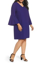 Tahari Plus Size Women's Bell Sleeve Crepe Shift Dress Violet