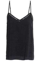 Tart Collections Woman Open Knit Trimmed Modal Camisole Black