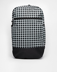 Asos Rectangle Backpack With Grid Print Black