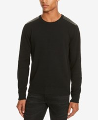 Kenneth Cole Reaction Men's Mixed Media Crew Neck Sweater Black