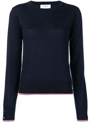 Thom Browne Rwb Tipping Cashmere Pullover Blue