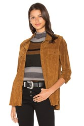 Sanctuary Silky Suede Overshirt Jacket Brown