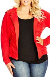 Plus Size Women's City Chic Ruched Jersey Hoodie Red Velvet