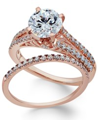 Macy's Certifiied Diamond Bridal Set 2 Ct. T.W. In 18K Rose Gold