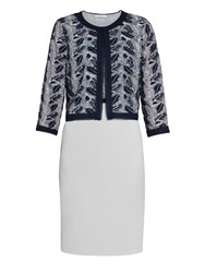 Gina Bacconi Crepe And Sequin Mesh Dress And Jacket Navy