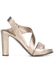 Roberto Del Carlo Block Heel Sandals Metallic