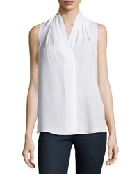 Neiman Marcus Mikayla Sleeveless V Neck Blouse White