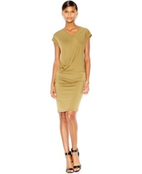 Bar Iii Ruched Cap Sleeve Dress Only At Macy's Military Olive